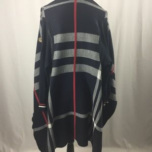 Dark Blue Cardigan with Red and Gray Accents, S/M